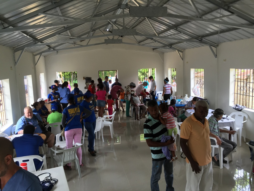 Our clinic with the dentists inside the church.